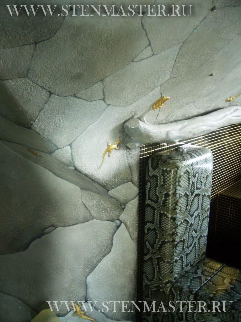 Декоративная штукатурка в ванной в виде пещеры,фото