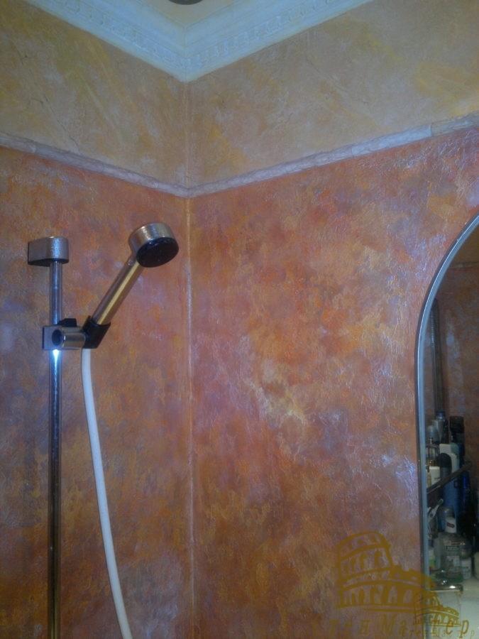 Акриловая декоративная штукатурка,нанесение в ванной
