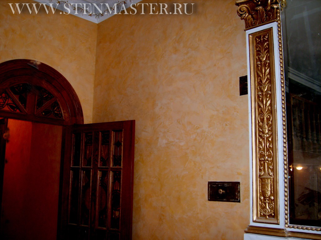 Фото,венецианская штукатурка у камина